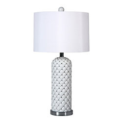"Lamps Plus - Contemporary Voru White Basket Weave Table Lamp - Add some modern style to your decor with this basket weave table lamp. The design features a white finish base with an eye-catching basket weave pattern. A fabric drum shade with round finial sits on top. Silver finish accents complete the look. With a 3-way socket that makes it easy to control the light output. Resin construction base. Takes one 100 watt bulb maximum (not included). 25 1/2"" high. Round base is 5 1/2"" wide. Shade is 13"" across the top and bottom 9"" high.  Voru basket weave table lamp.  White finish base.  With silver accents.  Round drum shade.  3-way socket.  Resin construction base.  Takes one 100 watt bulb maximum (not included).  25 1/2"" high.   Round base is 5 1/2"" wide.   Shade is 13"" across the top and bottom 9"" high."