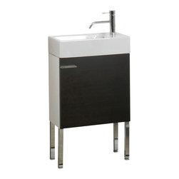 Iotti - Space Saving Bathroom Vanity Set With Ceramic Sink, Natural Oak - Looking to save space? This bathroom vanity set is perfect for small bathrooms.