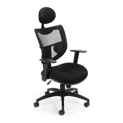 """OFM - OFM Parker Ridge Executive Mesh Chair with Headrest in Black - OFM - Office Chairs - 580BLACK - The contemporary design of OFM's Parker Ridge Series Executive Mesh Chair with Headrest Model 580 marries aesthetics support and comfort. The mesh back design allows for optimal air flow for all-day comfort. Ergonomic support is easily achieved with the synchronized seat mechanism gas lift seat height adjustment seat tilt/tension control ratchet back height adjustment and arms that are adjustable for both height and width. When you need that extra bit of comfort lean into the padded headrest. Also includes ComfySeat: a plush fire-retardant molded foam seat. The 27"""" 5-star base lets you stay stable no matter where you're moving. Weight capacity is 250 lbs."""