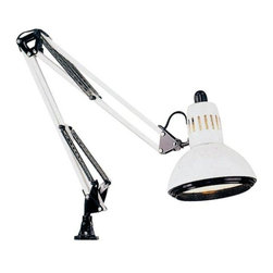 Alvin and Company - Swing Arm Lamp w Metal Shade in White - Uses a 100w bulb (not included). 2-Way mounting clamp for tables up to 1.5 in. thick . Swing-arm lamp with a ventilated 6.5 in. diameter metal shade with double baffle to reduce glare . Spring-balanced arm locks securely in any position with a 32 in. extension