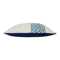The Pillow Studio - Blue Embroidered Linen Pillow Cover in Mandeville by Timothy Corrigan - I love the two tones of blue and the embroidered design by Timiothy Corrigan for Schumacher and the asymmetrical fabric placement makes this pillow all the more interesting.