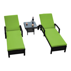 Reef Rattan - Reef Rattan 3 Pc Islander Chaise Lounger Set Black Rattan / Green Cushions - Reef Rattan 3 Pc Islander Chaise Lounger Set Black Rattan / Green Cushions. This patio set is made from all-weather resin wicker and produced to fulfill your needs for high quality. The resin wicker in this patio set won't fade, shrink, lose its strength, or snap. UV resistant and water resistant, this patio set is durable and easy to maintain. A rust-free powder-coated aluminum frame provides strength to withstand years of use. Sunbrella fabrics on patio furniture lends you the sophistication of a five star hotel, right in your outdoor living space, featuring industry leading Sunbrella fabrics. Designed to reflect that ultra-chic look, and with superior resistance to the elements in a variety of climates, the series stands for comfort, class, and constancy. Recreating the poolside high end feel of an upmarket hotel for outdoor living in a residence or commercial space is easy with this patio furniture. After all, you want a set of patio furniture that's going to look great, and do so for the long-term. The canvas-like fabrics which are designed by Sunbrella utilize the latest synthetic fiber technology are engineered to resist stains and UV fading. This is patio furniture that is made to endure, along with the classic look they represent. When you're creating a comfortable and stylish outdoor room, you're looking for the best quality at a price that makes sense. Resin wicker looks like natural wicker but is made of synthetic polyethylene fiber. Resin wicker is durable & easy to maintain and resistant against the elements. UV Resistant Wicker. Welded aluminum frame is nearly in-destructible and rust free. Stain resistant sunbrella cushions are double-stitched for strength and are fully machine washable. Removable covers made with commercial grade zippers. Tables include tempered glass top. 5 year warranty on this product. PLEASE NOTE: Throw pillows are NOT included. Chaise Lou