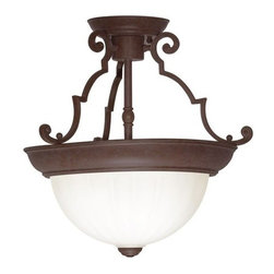 "Nuvo Lighting - Nuvo Lighting 76/436 Two Light 13"" Semi-Flush Ceiling Fixture Dome with Frosted - Nuvo Lighting 76/436 Two Light 13"" Semi-Flush Ceiling Fixture Dome with Frosted Melon Glass, in Old Bronze FinishNuvo Lighting 76/436 Features:"