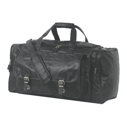 """Mercury Luggage - Simulated Leather Large Club Bag - Large bag with main compartment and double zippered """"U"""" shaped opening. Two front zippered pockets covered with buckle flap. One end zippered show pocket with mesh pouches. One end zippered pocket with ventilation screen and reinforced handle with fastener. Detachable adjustable shoulder strap with no slip pad. 25 in. L x 12 in. W x 11 in. H"""