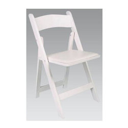 Alston - Solid Beech Folding Chairs w White Finish & V - This set of four white wood folding chairs comes in handy whenever you need extra seating. Use for an impromptu outdoor get together, or order many sets for outfitting a reception hall. These pieces feature matching vinyl seats that can be removed for easy cleaning. * Adds a classic elegance to your kitchen, dining or living area. Made of solid beech wood. Vinyl seat easily removed for cleaning or reupholsters. Suitable for commercial/residential use. Includes 4 chairs. 15 in. W x 14 in. D x 29 in. H