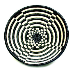 Plant Fiber Black And White Plateau Basket - Baskets can make great wall art, too. This African plateau basket would be fabulous featured in just about any room of the house.