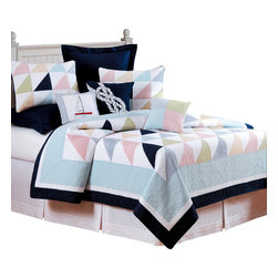 "C F Enterprises - Southwinds Queen Quilt - The Southwinds Queen Quilt by C F Enterprises is a lovely nautical flag theme in washable cotton great for the beach house or boat cabin.  The quilt measures 90"" x 92"" and features navy, light blue, green, red and white. Heavy stitching means easy care, wash and wear! Pre-washed so it will not shrink!"