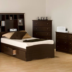Prepac Fremont 4PC Bedroom Set with Tall Nightstands in Espresso - Bedroom Set includes Twin Size Bed with Headboard, two Tall nightstands and Dresser. Wood slats are positioned lengthwise to distribute body weight evenly and minimize the amount of motion transfer. Three large drawers positioned below the bed are easy to access.