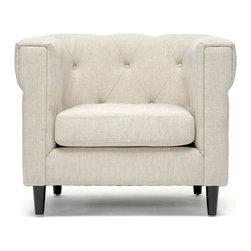 Wholesale Interiors - Cortland Beige Linen Modern Chesterfield Chair - Beige linen blend upholstery
