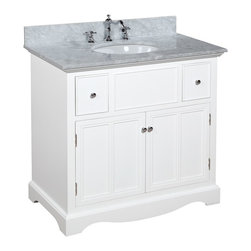 Kitchen Bath Collection - Emily 36-in Bath Vanity (Carrara/White) - This bathroom vanity set by Kitchen Bath Collection includes a white cabinet with soft-close drawers, Italian Carrara marble countertop, undermount ceramic sink, pop-up drain, and P-trap. Order now and we will include the pictured three-hole faucet and a matching backsplash as a free gift! All vanities come fully assembled by the manufacturer, with countertop & sink pre-installed.