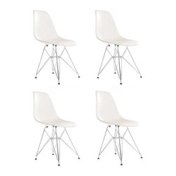Ariel - Set of 4 Eames Style DSR White Dining Shell Chair w/ Steel Eiffel Legs - Great looking, sturdy, and comfortable, this set of 4 Eames Style DSR Molded White Plastic Dining Shell Chair with Steel Eiffel Legs will beautifully compliment your rustic dining table, your mid-century furniture, or any indoor or outdoor theme. The contoured seats naturally fit the body to provide years of seating enjoyment.