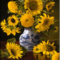 The Tile Mural Store (USA) - Tile Mural - Sunflowers In Blue & White - Kitchen Backsplash Ideas - This beautiful artwork by Christopher Pierce has been digitally reproduced for tiles and depicts a vase with colorful flowers.  With our enormous selection of tile murals of plants and flowers you can bring your kitchen backsplash tile project to life. A decorative tile mural with plants and flowers is an impressive kitchen backsplash idea and decorative flower tiles also work great in the bathroom. Add splashes of color and life to your tile project with images of flowers on tiles and tiles with pictures of plants.
