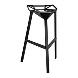 Modway - Modway EEI-1024 Launch Stacking Bar Stool in Black - Listening is an artform with this bar stool that encourages positive social engagement. While surprisingly comfortable to sit upright in, Launch also reminds you to lean forward and smile. It is an edgy piece, that conveys both a sense of minimalist modernism, and a willingness to enter the future. Made of a coated aluminum frame with non-marking feet, Launch comes fully-assembled and stackable for easy use.