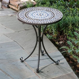 Tremiti Mosaic Outdoor Bistro Table - The Tremiti Mosaic Outdoor Bistro Table evokes the sense of a classic piece of European art. This round bistro table features a mosaic tabletop displaying concentric circles, hand-laid with natural materials so that no two tables are exactly alike. Other features include a wrought iron frame with a rust-resistant powder-coat finish and stainless steel hardware. Dimensions: 24 diam. x 29H inches.About Mosaic tabletopsThe mosaic tiles are hand-set and grouted with industrial adhesives for maximum durability. What this means is if the mosaic top gets wet, the grout won't dry out and crack like traditional standard grout would. The top is then finished and sealed with an industrial-grade sealant called Fluorocarbon for superior protection. Natural wear and tear of elements may lead to blistering of the silicone top seal and natural aging of the tile materials. The hand-forged wrought-iron table frame is dipped in a zinc-phosphate bath and then electrostatically coated to help create a weather-resistant coating to delay the onset of rust. Following a quality check for strength and durability, iron welds are ground for aesthetic appeal. Finally, a powder-coated finish is applied and baked onto the iron for stronger color and protection. As fetching as it is functional, this is a piece that will never go out of style.About Alfresco HomeOffering a wide selection of fashionable products, from casual furniture and garden lighting to permanent botanicals and seasonal decor, Alfresco Home casual living products offer a complete line of interior and exterior living furnishings and accents. Based out of King of Prussia, Penn., Alfresco Home continues to blend indoor and outdoor furniture to create a lifestyle of alfresco living inside and outside of the home. Inlaid mosaic tabletops, fine hardwood furnishings, artisan-inspired accents, premium silk botanicals, and all-weather wicker sets are just a few examples of the kind of treasures you'll find in Alfresco's specially designed collections.Please note this product does not ship to Pennsylvania.