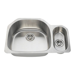 "MR Direct - Offset Stainless Steel Kitchen Sink - The 3221L offset double bowl undermount sink is constructed from 304 grade stainless steel and is available in your choice of 18 or 16 gauge thicknesses. The surface has a brushed satin finish to help mask small scratches that occur over time and keep your sink looking beautiful for years. The overall dimensions of the 3221L are  and a 33"" minimum cabinet size is required. This sink contains a 3 1/2"" offset drain, is fully insulated and comes with sound dampening pads. As always, our stainless steel sinks are covered under a limited lifetime warranty for as long as you own the sink."