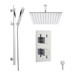 Hudson Reed - Astbury Thermostatic Shower System With Square Head, Slider Rail and Handset - An attractive square chrome face plate and minimalist controls ensure that the Astbury Twin Concealed Thermostatic Shower Valve, with Built-In Diverter, complements any modern bathroom or shower room. Constructed from brass, with modern ceramic disc technology, square handles give you finger tip control of the temperature and flow of water to either the large Square Ceiling Mounted Shower Head or Slide Rail Kit.