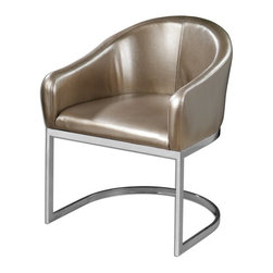 """Carolyn Kinder - Carolyn Kinder Marah Modern Accent Chair X-84132 - Modern barrel-style accent chair in metallic, champagne faux leather and polished chrome base. Seat height is 18.5""""."""