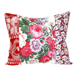 Acapillow - Floral Patchwork Pillow - Everything old is new again in this fresh, fun pillow. Its combination of vintage and antique fabrics blossom with personality and add cheer and charm to any chair (or bed … or couch) in your home.
