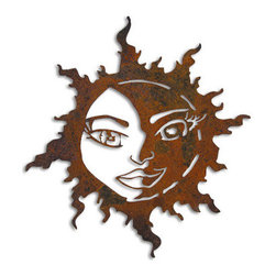 Rustica Ornamentals - Sun Moon Garden Decor, Hanging - This handcrafted Sun Moon Garden Art will become a decorative favorite.