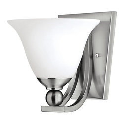Hinkley Lighting - Hinkley Lighting 4650BN Bolla Transitional Wall Sconce - The graceful lines of Bollas sweeping double arms create a soft elegance  while heavy cast spheres perched at the tips add to its innovative style. The strong proportions of the arms  offered in either Brushed Nickel  Olde Bronze or Brushed Bronze finishe