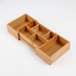 Lipper - Lipper Bamboo Expandable Drawer Organizer with 2 Dividers - 16W in. Light Brown - Shop for Storage and Organizers from Hayneedle.com! About Lipper InternationalLipper International provides exceptionally valued kitchen home & office organizers including the Soho Spice Collection; single serve coffee pod organizers; kitchen pantryware cutting boards and tools; serving & entertaining accessories; and children's furniture and toy chests. Lipper uses the finest quality materials including stainless steel bamboo acacia wood chrome- and powder-coated metals and other fine quality hard woods. Known for product functionality as well as beauty and quality craftsmanship Lipper International combines quality style service and price into every product and collection it offers.