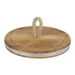 "Europe2You - Round Wooden Rope Serving Board - Spending time with family at home is just one of the many treasures that life has to offer. Treat your family with a gift that can be enjoyed for many years to come. Whether serving as an eye catching centerpiece for pastries and fruits, or laden with after dinner treats, this serving board made of reclaimed wood welcomes guests with warmth. Accented with a hemp rope at its center and a strip of galvanized steel at its edge, each serving board complements any decor with its casual elegance. * Dimensions: W: 18"" H: 2"""