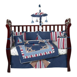Sweet Jojo Designs - Nautical Nights 9-Piece Crib Bedding Set - The Nautical Nights 9-Piece Crib Bedding Set by Sweet Jojo Designshas all that your little bundle of joy will need. Let the little one in your home settle down to sleep in this incredible nursery set. This baby boy bedding set features nautical themed appliqués and embroidery works of sailboats, anchors and helms. This collection uses the stylish colors of navy, red, chambray blue and camel. The design uses 100% cotton fabrics combined with micro suede fabrics that are machine washable for easy care. This wonderful set will fit all cribs and toddler beds.