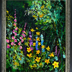 overstockArt.com - Ledent - Garden flowers - Garden flowers is a canvas print of a colorful modern Ledent painting showing outdoor flowers. Originally oil on canvas stretched on a wooden frame 15,7 x 19,7 inches. Pol Ledent was born in 1952 in Belgium. He came to painting in 1989. He started with watercolor but felt rapidly that oil painting would match his way of being. He is a self-taught painter . Nevertheless he took some drawing lessons in a Belgian academy. After taking part into numerous group exhibitions, some galleries in Belgium proposed to him to exhibit his works. Dinant, Bouillon, Brussels , Paris and Moscow in October 2006.