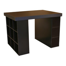 Venture Horizon - Project Center with Bookcase & Bin Storage - Whatever's on your plate, this Project Center helps you keep productive. Perfect for your home or office, it has a sleek black finish but that's just the start - a pair of 9-shelf bookcase sides provide smart, built-in storage capability. Rectangular tabletop is spacious enough to handle anything. Includes tabletop, 1 bookcase and 3 bin cabinets. Deep drawers not included. Organizes all projects. Versatile work center. Accessible storage. Huge work surface. 9 Shelf bookcase. Shelves are adjustable. 3 Large storage bins. Constructed from durable, stain resistant and laminated wood composites that includes MDF. Made in the USA. Assembly required. All material for panels & shelves are 1/2 in. thick while the back is 1/8 in. thick. Overall: 55 in. W x 40.75 in D x 38.5 in H. Table top: 55 in W x 41 in. D x 2.5 in H. Bookcase (9 sections): 39 in. W x 11.5 in. D x 36 in. H. Storage bays: 11.25 in. W x 13.13 in. D x 39 in. L. Drawer: 10 in. W x 17.25 in. D x 10 in. HOur Work Station's ingenious design makes it perfect for studying, sewing, crafting or scrap booking.  If you have a hobby like model airplane building or collecting coins then our spacious PROJECTCENTER is ideal.  From concept thru design & production, organize your creations...then relax. Our PROJECTCENTER will do the rest. It combines numerous convenient ways to organize and store all the materials for any project.  Whether it's keeping your work in process close at hand on the spacious 55 in. x 41 in. table top. Or arranging the contents of your materials in tidy oversized adjustable bookcase shelves. Longer or larger objects like wrapping paper, bolts of fabric or even architectural plans store conveniently in any of the large storage bins. They are open at both ends. Need more? Then add 3 or more deep drawers to the mix. Use them to hide the clutter of yarn, buttons, thread or what ever you need concealed. Without doubt this is the most intell