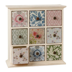 Calico Florals Drawers - Endless bouquets of flowers give this mini chest of drawers a darling vintage feel. It's a charming way to sort out jewelry and bathroom odds and ends, while adding some color and whimsy.