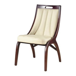 International Design - Barrel Leather Dining Chairs - Set of 2 - Set of 2. Enhance your home decor with a set of barrel dining chairs . Dining room furniture pieces are made of solid wood and cream-colored leather. Set includes two chairs . No Assembly Required. Seat Height: 18 in.. 19 in. L x 22 in. W x 35 in. H (19 lbs)