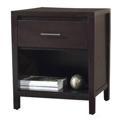Modus Furniture - Modus Nevis 1-Drawer Nightstand in Espresso - Crafted from Tropical Mahogany solids and a variety of beautiful veneers, the Nevis collection Features Solid wood drawer boxes with English dovetail joints on both front and back, Full extension ball bearing drawer glides, and are corner blocked to ensure rigidity, making them as functional as they are sleek. The wide variety of pieces are enhanced by an elaborate American finishing process in either a rich Spice or a deep, dark Espresso, both complimented by brushed chrome hardware. Together with a vast array of contemporary platform, low profile and sleigh bed styles, the Nevis collection blends the sleek and exotic with the functional.