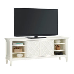 Lexington - Tommy Bahama Home Ivory Key Wharf Street TV Console - The two doors with decorative fretwork over woven raffia panels slide from the outside to the center exposing five adjustable shelves. In the center section is a single drawer with woven raffia drawer front, and grommets.