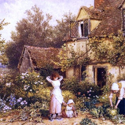 """Myles Birket Foster At the Cottage Door - 16"""" x 24"""" Premium Archival Print - 16"""" x 24"""" Myles Birket Foster At the Cottage Door premium archival print reproduced to meet museum quality standards. Our museum quality archival prints are produced using high-precision print technology for a more accurate reproduction printed on high quality, heavyweight matte presentation paper with fade-resistant, archival inks. Our progressive business model allows us to offer works of art to you at the best wholesale pricing, significantly less than art gallery prices, affordable to all. This line of artwork is produced with extra white border space (if you choose to have it framed, for your framer to work with to frame properly or utilize a larger mat and/or frame).  We present a comprehensive collection of exceptional art reproductions byMyles Birket Foster."""