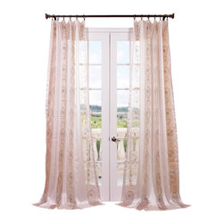 "Exclusive Fabrics & Furnishings, LLC - Lunetta Taupe Gold Embroidered Sheer Curtain - 100% Polyester. 3"" Pole Pocket. Imported. Dry Clean Only."
