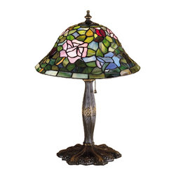 Meyda Tiffany - Meyda Tiffany Lamps Table Lamp in Mahogany Bronze - Shown in picture: Tiffany Rosebush Accent Lamp; The Most Beloved Of All Flowers - The Rose - Is Beautifully Represented In This Meyda Reproduction Of A Tiffany Studio Classic. Petal Pink - Romantic Red And Plum Passion Art Glass Roses Ramble On A Maze Of Garden Green Leaves. The Delicate Domed Stained Glass Shade Is Paired With A Graceful - Hand Finished Mahogany Bronze Accent Lamp.