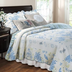 Greenland Home Fashions Coral Blue Bonus Quilt Set - Roll up your pants and learn all the words to Elvis' criminally underrated single Clambake, because whatever room gets to host the Greenland Home Fashions Coral Blue Bonus Quilt Set is instantly going to be the room that's closest to the beach. This set includes a comforter, two pillows, and one or two shams, depending on the size you choose. The comforter is made using high-quality 100% cotton that features vermicelli-style machine quilting for added interest and durability. The front features a pattern of coral and seashells with an all-over coordinating stripe on the reverse. The pillows sport a silk-screened coastal motif on the removable burlap cover. Each piece is pre-washed, pre-shrunk, and machine-washable. The quilt is crafted in an oversized design for better coverage on today's deeper mattresses.Product Dimensions:Twin comforter: 88L x 68W in. Full/queen comforter: 90L x 90W in.King comforter: 95L x 105W in.Small sham: 20L x 26W in.Large sham: 20L x 36W in.Decorative pillow: 18W x 18L in.About Greenland Home FashionsFor the past 16 years, Greenland Home Fashions has been perfecting its own approach to textile fashions. Through constant developments and updates - in traditional, country, and more modern styles – the company has become a leading supplier and designer of decorative bedding to retailers nationwide. If you're looking for high-quality bedding that not only looks great but is crafted to last, consider Greenland.