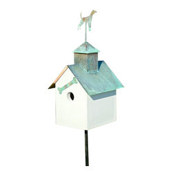 Heartwood - Sleepy Hollow Bird House Big Dog - This  beautiful  birdhouse  is  the  perfect  addition  to  any  home  or  garden  of  your  choice.  A  copper  roof  with  your  choice  of  verdigris  critter  and  coordinating  front  adornment  are  the  perfect  pieces  to  accent  this  home.  It  is  sure  to  please  all  family,  guests  and  visitors.  This  bird  house  is  one  you  are  sure  to  enjoy  in  the  years  to  come.  Available  in  different  designs.                  8x9x19              1-1/2  hole              Available  designs  include  loose  moose,  big  dog,  horse,  pig,  angel,  rooster  and  bear              Handcrafted  in  USA  from  renewable,  FSC  certified  wood