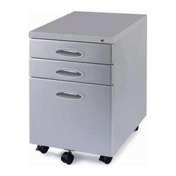 New Spec - Mobile File Cabinet In Light Grey - Color/Finish: Light Grey. Material: Metal. Key Lock. . 15.43 in. L x 21.77 in. W x 21.97 in. H (48 lbs)