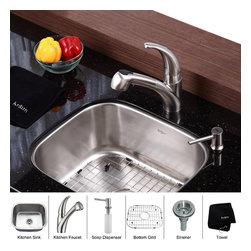 Kraus - Kraus 20 inch Undermount Single Bowl Stainless Steel Kitchen Sink with Kitchen F - *Add an elegant touch to your kitchen with unique Kraus kitchen combo