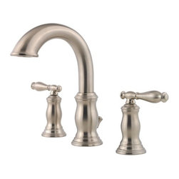 "Price Pfister - Price Pfister F-049-TMKK Hanover 3-Hole Widespread Lead Free Bathroom Faucet in - Price Pfister F-049-TMKK Hanover 3-Hole Widespread Lead Free Bathroom Faucet in Brushed NickelInnovation meets unmatched styling. The new Hanover bathroom faucet with full-bodied elegant metal lever handles, is sure to be the centerpiece piece of any bath.Price Pfister F-049-TMKK Hanover 3-Hole Widespread Lead Free Bathroom Faucet in Brushed Nickel, Features:• 8""-15"" Widespread"