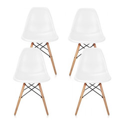 Ariel - Set of 4 Eames Style Molded White Plastic Dining Shell Chair W/ Wood Eiffel Legs - This set of 4 Eames Style DSW Molded Plastic Dining Shell Chair with Wood Eiffel Legs will provide ample indoor seating for family and guests. Sporting a futuristic yet retro look at the same time, this chair set will be a great addition to any kitchen or dining room area. Constructed of heavy duty matte finish seats. Available in white, black, or light blue.