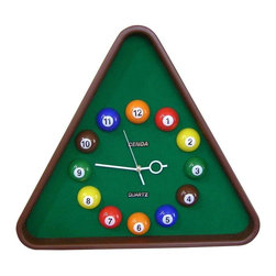 ORE International - Pool Wall Clock - Battery not included. Requires one AA battery. Green background. 30 days warranty. Made from plastic, fabric and resin. Brushed finish. No assembly required. 20.5 in. W x 2 in. D x 18.5 in. HThis uniquely designed wall clock is a must-have for billiards lovers.
