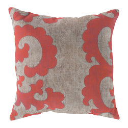 "Surya - Square Decorative Pillow RG-019 - 20"" x 20"" - Update your space with sweet elegance with this impeccably designed pillow! Featuring a smooth scroll design in cool coral painted across a bold beige backdrop, this piece defines sophistication and class. This pillow contains a Virgin Poly Styrene Bead fill providing a reliable and affordable solution to updating your indoor or outdoor decor."