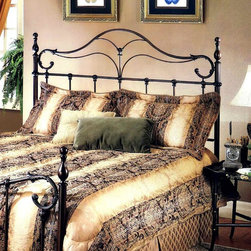 Hillsdale - Bennett Scrolled Metal Headboard in Antique B - Choose Bed Size: KingFor residential use. Includes headboard and frame. With elongated finials a sweeping footboard and unique ornamentation. Full/queen: 62.25 in. W x 2 in. D x 57.25 in. H. Full/queen frame: 83.5 in. L x 78 in. W. King: 78.25 in. W x 2 in. D x 57.25 in. H. King frame: 83.5 in. L x 78 in. WThe Bennett bed is a surprising twist on a traditional style. With elongated finials a sweeping footboard and unique ornamentation, it's not your average old fashioned bed.