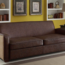 Armen Living - Antique Brown Sofa with Natural Jute - Rest a tray of cocktails or stow blankets and throws inside this stylish sofa. Accented with antique nails and wrapped in a harmony of plush antique bonded leather and jute fabric for lasting appeal.