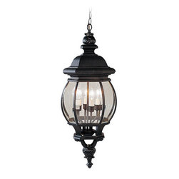 Livex Lighting - Livex Lighting 7705 4 Light 240W Outdoor Pendant with Candelabra Bulb Base and C - 4 Light 240W Outdoor Pendant with Candelabra Bulb Base and Clear Beveled Glass from Frontenac SeriesProduct Features: