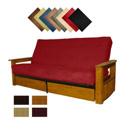 EpicFurnishings - Columbus Microfiber Suede Inner Spring Queen-size Futon Sofa Bed Sleeper - The Columbus, with its wide flat end table-like arm surface, has both a built-in magazine rack and two storage drawers. With several kid-proof pet-proof suede colors and multiple wood finish options, the Columbus is a versatile addition to any decor.