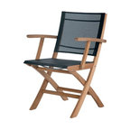 Barlow Tyrie - Barlow Tyrie Horizon Teak Folding Carver Chair, Charcoal - Featuring high oil content teak wood, the Horizon furniture collection is able to withstand the harshest weather conditions with minimal maintenance.