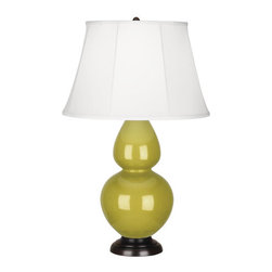 Robert Abbey - Robert Abbey Large Double Gourd Ivory Stretched Table Lamp with Bronze Base CI21 - Citron Glazed Ceramic